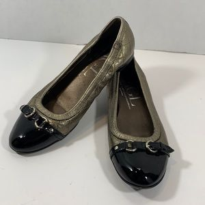 AGL bronze quilted cap toe flats size 38 1/2